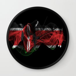 Kenya Smoke Flag on Black Background, Kenya flag Wall Clock
