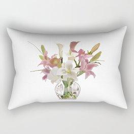 vase and flowers on white background . artwork Rectangular Pillow