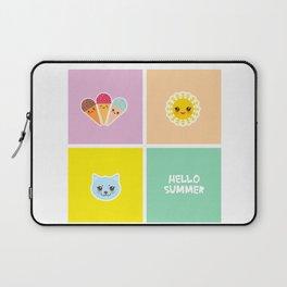 Hello Summer bright tropical card design, ice cream, sun, cat. Kawaii cute face. Laptop Sleeve