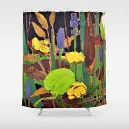 12,000pixel-500dpi - Tom Thomson - Water Flowers - Digital Remastered Edition Shower Curtain