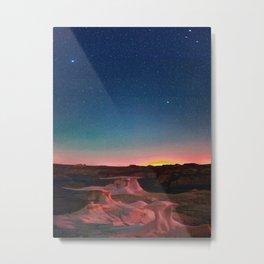 Bisti Badlands Hoodoos Under New Mexico Stary Night Metal Print