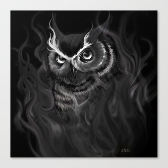 Owl Aflame Canvas Print