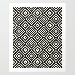 Modern Southwest Boho Black Pattern Art Print