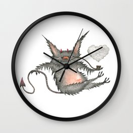 Smoking little cute devil Wall Clock