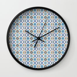 Oriental Mosaic Pattern 3 Blue - Morocco Style Wall Clock