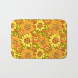 Pushing daisies orange with green base Bath Mat