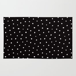 Minimal- Small white polka dots on black -Mix & Match with Simplicty of life Rug