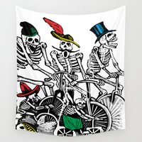 calavera Wall Tapestries featuring Calavera Cyclists by Eclectic at HeART