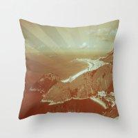 rio de janeiro Throw Pillows featuring Rio de Janeiro by amber havenside