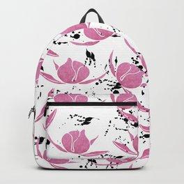 Pink black watercolor paint splatters floral Backpack