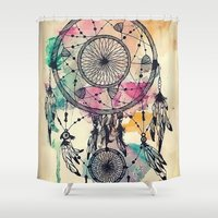 dreamcatcher Shower Curtains featuring DreamCatcher by Pink Berry Patterns