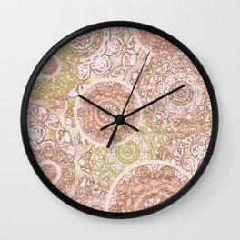 Rosey Gold Mandalas Wall Clock