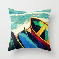 boats Throw Pillows featuring Boats by Christina Rowe