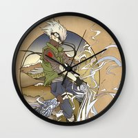 kakashi Wall Clocks featuring Woodblock Kakashi by Sempaiko