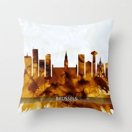 Brussels Belgium Skyline Throw Pillow