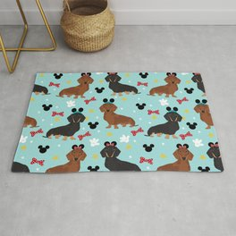 Dachshund theme park dog - black and tan and red doxies Rug