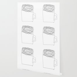 Coffee Illustration Black and White Drawing One Line Art Wallpaper