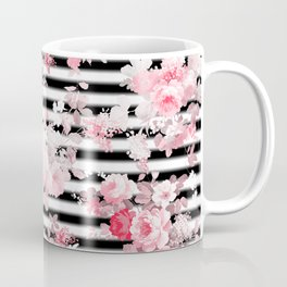 Vintage blush pink floral black white stripes Coffee Mug