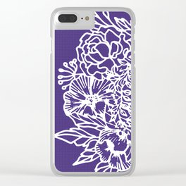 White Flowery Linocut Wreath On Checked UltraViolet Clear iPhone Case