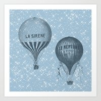 hot air balloons Art Prints featuring Hot Air Balloons by Zen and Chic