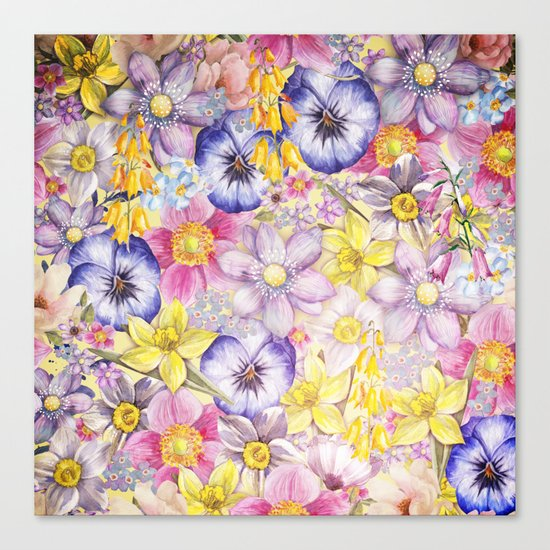 Painterly Vintage Spring Flowers Pattern - Springflower floral Canvas Print