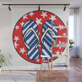 Life is Better in Flip Flops Patriotic Graphic Design Wall Mural
