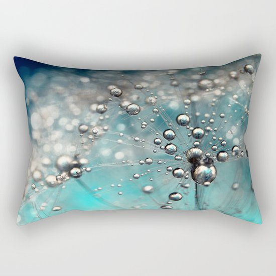 Ocean Blue  and White Dandy Drops Rectangular Pillow