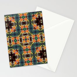 PATTERN ABSTRACT LILIES ORANGE/WHITE Stationery Cards