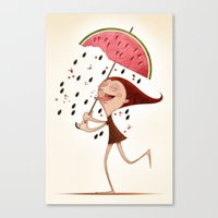 watermelon Canvas Prints featuring Watermelon by José Luis Guerrero
