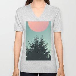 Pine tree and birds Unisex V-Neck