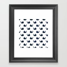 Navy blue and white maritime sea whale pattern Framed Art Print