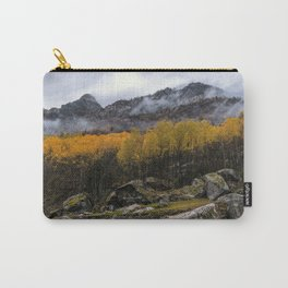 Misty forest in the valley of Gressoney near Monte Rosa during autumn Carry-All Pouch