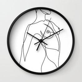 one line nude - e 7_2 Wall Clock