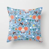 dumbo Throw Pillows featuring Dumbo by Carly Watts