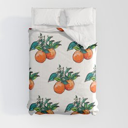 Oranges and Orange Blossom California Citrus Pattern Painting on White Comforters