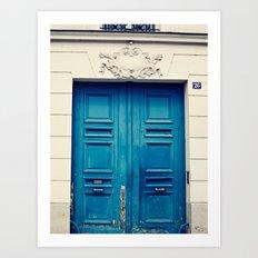 Paris door, blue Art Print