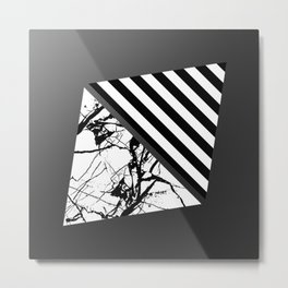 Stripes N Marble 3 - Abstract Black and white stripes and marble textured triangles on metallic Metal Print