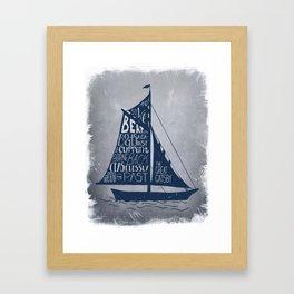 Great Gatsby Hand-Lettered Boat Art Framed Art Print