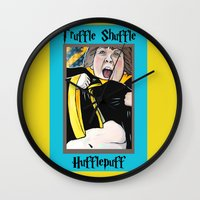 hufflepuff Wall Clocks featuring Truffle Shuffle Hufflepuff by Portraits on the Periphery