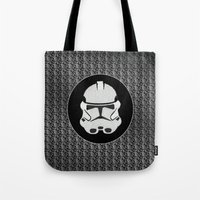 storm trooper Tote Bags featuring Storm Trooper by Leslie Philipp