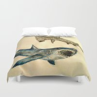 sharks Duvet Covers featuring Sharks by Jen Hallbrown