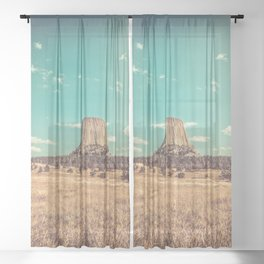 Devil's Tower National Monument Wyoming Sheer Curtain