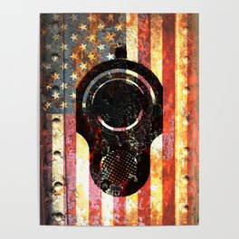 M1911 Colt 45 On Rusted American Flag Poster