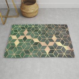 Gold Emerald green Gradient Cube Art print Rug