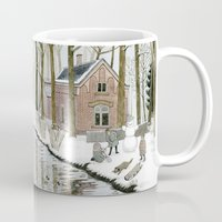 toddler Mugs featuring Children Building A Snowman by Yuliya
