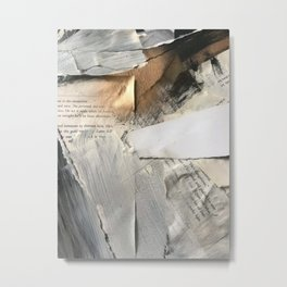 Too Soon | Collage Series 1 | mixed-media piece in gold, black and white + book pages Metal Print