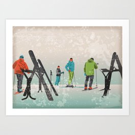 Skiers Summit Art Print