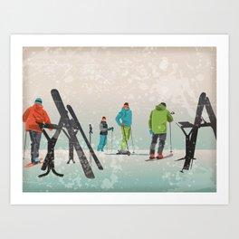 Skiers Summit Art Print