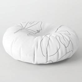 Thinking about You Minimalist Black and White Floor Pillow