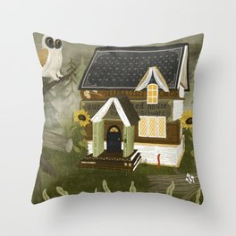 book cottage Throw Pillow